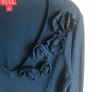 Elle Sweaters - Elle Teal Sweater Rosette Knitted Accents Size S